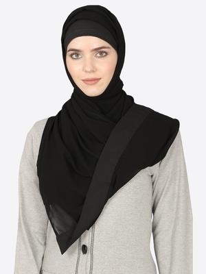Black Band Plain  Black Hijab