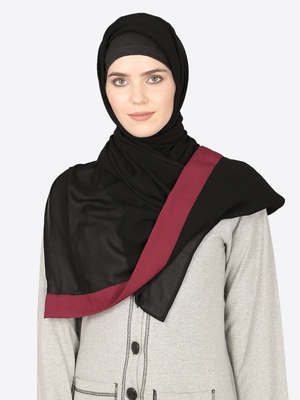 Maroon Band Plain Black Hijab