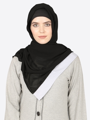 Sky Blue Band Plain Black Hijab