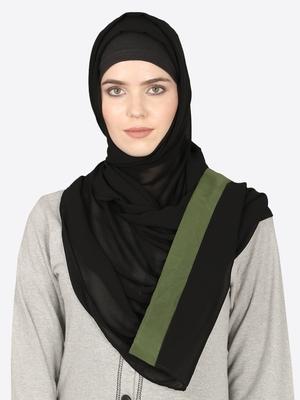 Olive Green Band Plain Black Hijab