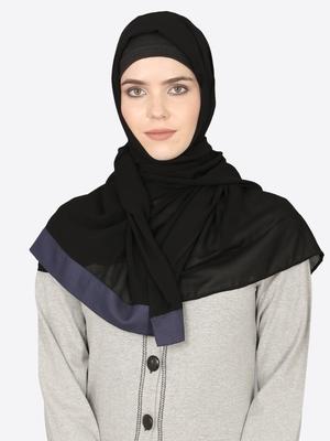 Blue Band Plain Black Hijab