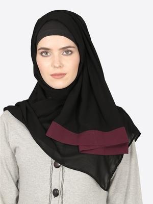 Maroon Band Plain Black Hijab