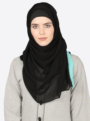 Aqua Band Plain Black Hijab
