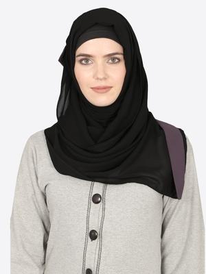 Purple Band Plain Black Hijab