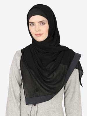 Navy Band Plain Black Hijab