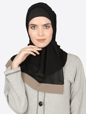 Khaki Band Plain Black Hijab