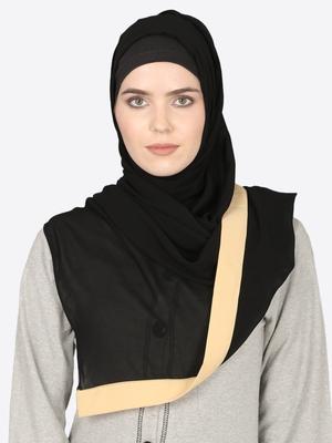 Baeige Band Plain Black Hijab