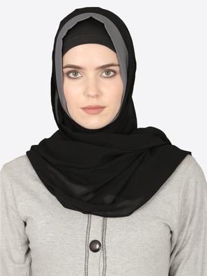 Grey Band Plain Black Hijab