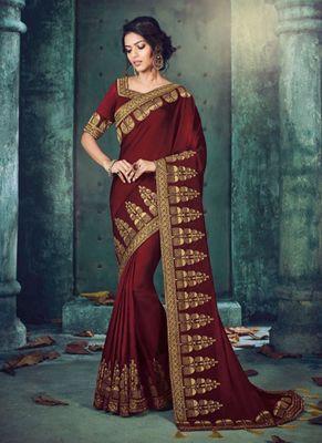 Dark wine embroidered silk saree with blouse