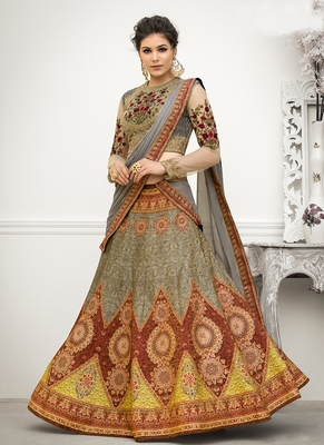 Multicolor digital print banarasi silk semi stitched lehenga