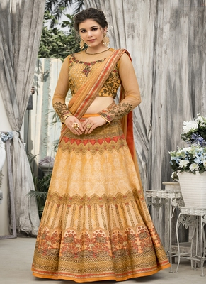 Peach digital print banarasi silk semi stitched lehenga