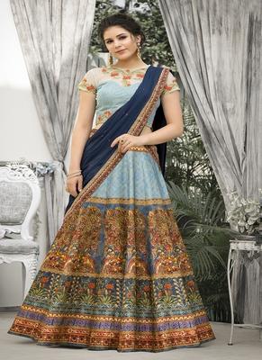 Light-blue digital print banarasi silk semi stitched lehenga