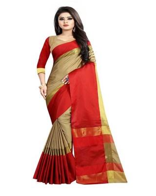 Chiku plain cotton silk saree with blouse