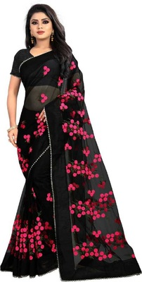 Black Self Design Embroidered Net Saree With Blouse