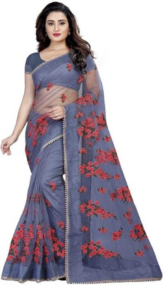 Grey Self Design Embroidered Net Saree With Blouse