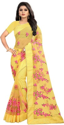 Yellow Self Design Embroidered Net Saree With Blouse