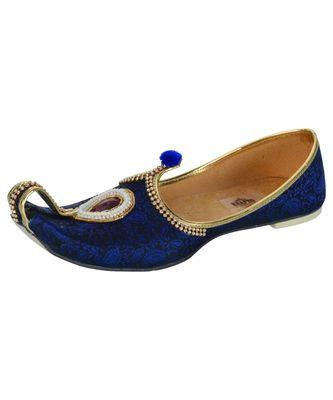 Men's Blue Fabric Rhinestone Ruby Mojaris