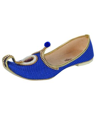 Men's Blue Jute Rhinestone Ruby Mojaris