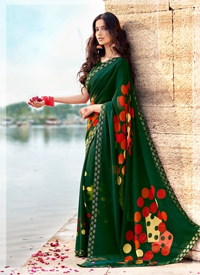 Dark green printed georgette saree with blouse