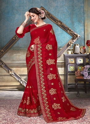 Scarlet Red Embroidered Georgette Saree With Blouse
