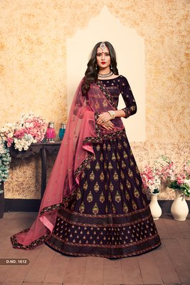 Wine Embroidered Satin Semi Stitched Lehenga