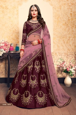 Brown embroidered satin semi stitched lehenga