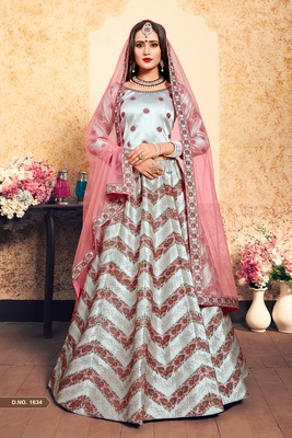 Grey Embroidered Satin Semi Stitched Lehenga
