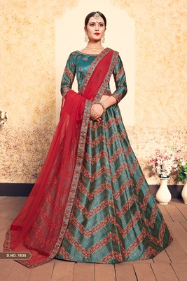 Green embroidered satin semi stitched lehenga