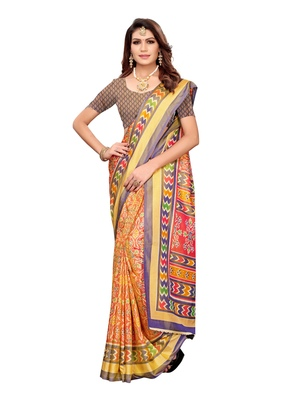 Pink printed poly silk saree with blouse