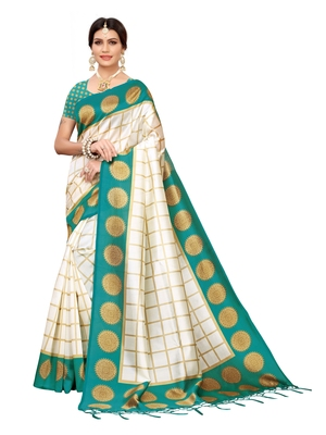 White printed poly silk saree with blouse