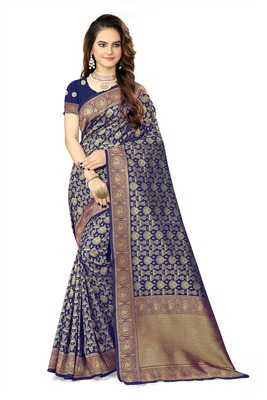 Navy blue woven faux kanjivaram silk saree with blouse