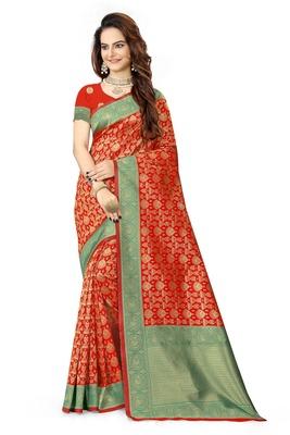 Red woven faux kanjivaram silk saree with blouse