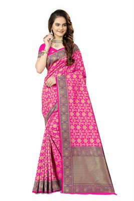 Rani pink woven faux kanjivaram silk saree with blouse