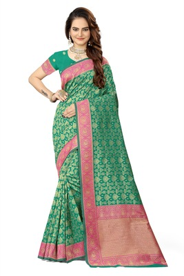 Green woven faux kanjivaram silk saree with blouse
