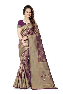 Wine woven faux kanjivaram silk saree with blouse