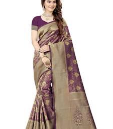 Wine woven faux kanjivaram silk saree with blouse