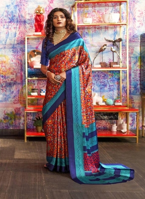 Red printed satin saree with blouse