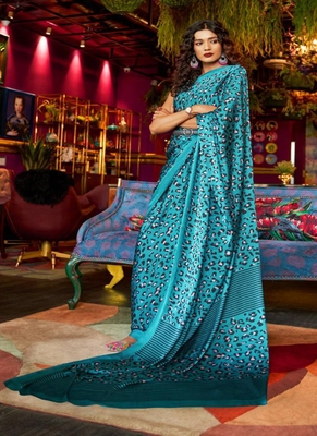 turquoise printed satin saree with blouse