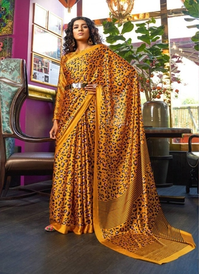 Yellow printed satin saree with blouse