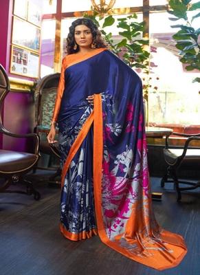 navy blue printed satin saree with blouse