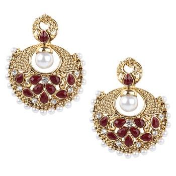 Ethnic Indian Bollywood Jewelry Set, Gold Finish Pearl Polki Dangler Earrings Set