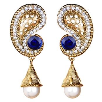 Ethnic Indian Bollywood Jewelry Set Paisley Polki Dangle Earrings
