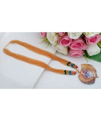 Real Hand Made Seed Made Long Neck Wear with Hand PaintedTanjore Art Druzy Stone Pendant