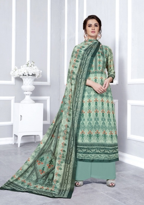 Grey printed faux georgette salwar