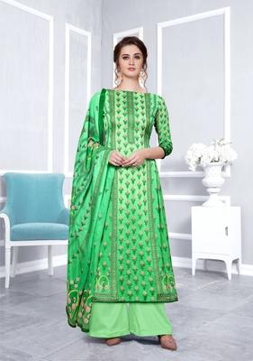 Green printed faux georgette salwar