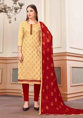 Beige Woven Banarasi Silk Salwar