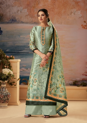 Grey printed silk salwar