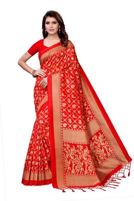 Red printed art silk sarees saree with blouse