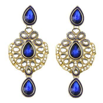 Ethnic Indian Bollywood Jewelry Set Zircon Stone Polki Earrings