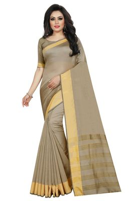 Beige Cotton Silk Printed Saree with Blouse